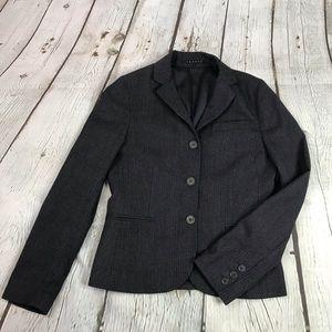 Theory Womens Sz 6 Gray 3 Button Blazer Jacket